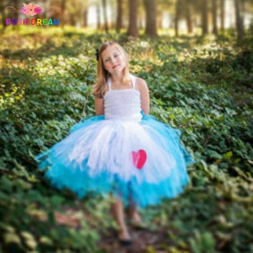 POSH DREAM Alice In Wonderland Costume Blue White Alice Cosplay Tutu Dress with Ref Heart Alice Dress Tea Party Mad Hatter
