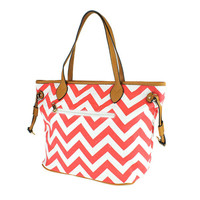 Red Chevron Fabric Tote Bag