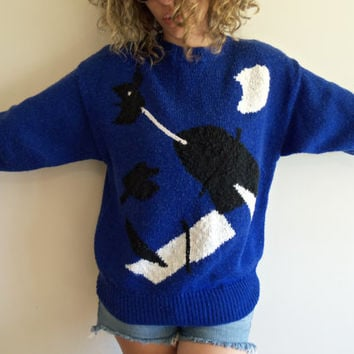 80s/90s Oversize Blue and Black Knit Abstract Whale Sweater