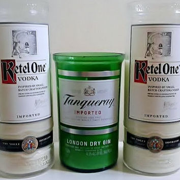 Gin AND Martini -Liquor Wicks Candle Bundle Pack- Kettle One Vodka & Tanqueray Gin