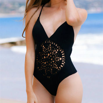 Women's Swimwear One Piece Braided Hollow Swimsuit Monokini Push Up Padded Bikini Bathing