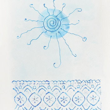"Sea mandala, A/4 original mandala watercolor painting in soft blue tones, home decor, nursery, art, wall hanging, ""Mirror of the Sea"""