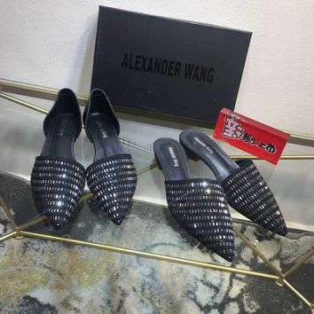 Alexander Wang Women Casual Shoes Fashionable Black Casual Leather Sandals Slipper