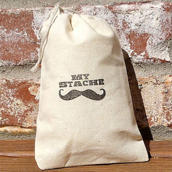Mustache Stamped Cotton Muslin 4x6 Favor Bag- Perfect for Bachelor and Little Man Parties