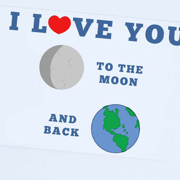 I love you to the moon and back , illustrated Card, Love Card, Anniversary Card, I love you Card
