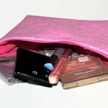 Light Pink Cosmetic Bag // Pink Make Up Pouch // Zippered Pouch //Toiletry Bag