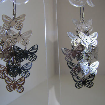 Metal Butterfly Earrings by Lunarpearl on Etsy