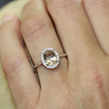 Diamond and Morganite Ring in 14k White Gold Halo Diamond Engagement Ring 9x7mm Oval Pink Peach Morganite Wedding Ring