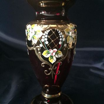 Czech bohemia crystal Egermann - Red vase 21cm decorated gold