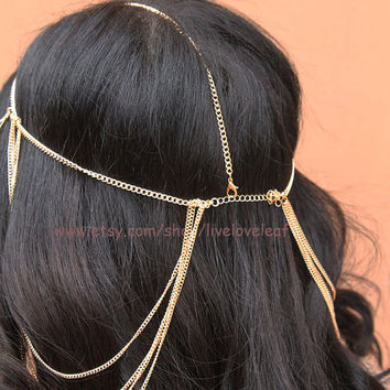 Layered Gold Head Chain, Hair Accessory, chain hair piece, bohemian headchain, Princess, Goddess, Grecian style accessories Live love leaf