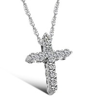 Cross Pendant Necklace with Cubic Zirconia Pave Religious Cross Pendant in Clear Color