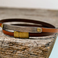 Personalized Wrap Bracelet in Leather and Sterling Silver