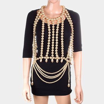 Oversized Dramatic Draped Pearl Neck Top Body Chain Necklace
