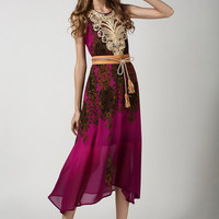 Purple Sleeveless Vintage Floral Belted A-Line Maxi Dress