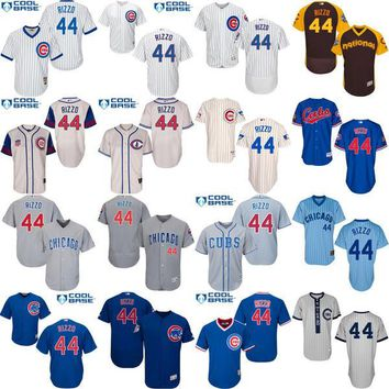 2016 World Series Champions patch Anthony Rizzo baseball Jersey , Men's #44 Chicago Cubs Turn Back The Clock stitched s-4xl