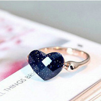 Delicate Wedding Rings Han Edition Popular Heart Love Wedding Rings for Women Girls Gold Plated Engagement Jewelry