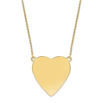 14K Yellow Gold Plain .018 Gauge Heart Engravable Disc 18 Necklace 18 Inch
