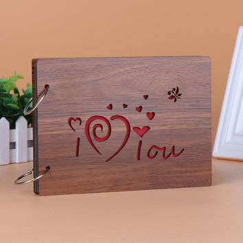 1pcs YT75  30 pages Personalized Photo Album wooden gifts loose-leaf photo album custom gifts   8 inch  Free Shipping