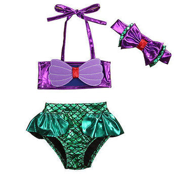 Mermaid Bowknot Baby Girl Kids Bathing Suit Swimwear Bikini Set Tankini Swimsuit Costume