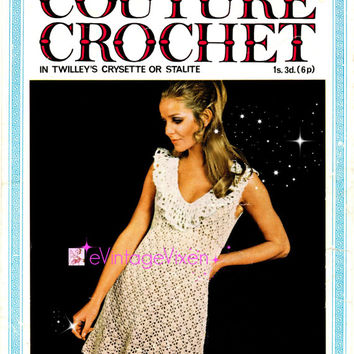Instant Download 1970s Lacy Collar Sleeveless Dress-Sexy Mini Dress-Vintage Crochet Pattern-Clubbing Dress Crochet Pattern-e Vintage Vixen