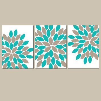 Turquoise Sepia Wall Art, CANVAS or Prints Teal Bathroom Pictures, Bedroom Floral Decor, Flower Petal Burst Dahlia Set of 3 Art Home Decor