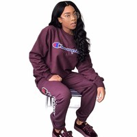 Champion 2018 Letter Print Women's Set autumn/winter fashion sexy women casual two pieces suits casual nightclub party tracksuit M708