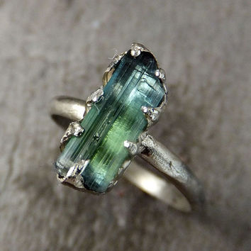 Raw blue Green Tourmaline White Gold Ring Rough Uncut Gemstone Promise Engagement recycled 14k stacking cocktail statement byAngeline