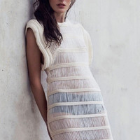 White Sleeveless Hollow-out See-through Cascading Ruffles Dress