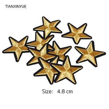 TIANXINYUE Brand 10 pcs Gold Star Embroidered Badges Iron On Patches For Clothing Cartoon Motif Applique Sticker For Clothes