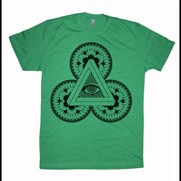 Men's Power of 3 Illuminati Mandala Psychedelic Screen Printed T-Shirt Sacred Geometry