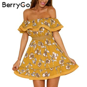 BerryGo Off shoulder ruffle floral print summer dress Women sexy hollow out white mini beach dress Elegant pleated dress vestido