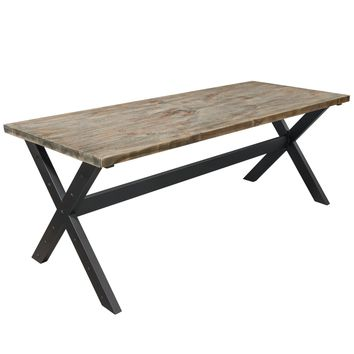Franklin Industrial Rectangular Dining Table with Weathered Grey Top and Black Powder Coated Base