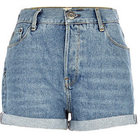 River Island Womens Mid wash roll hem denim shorts