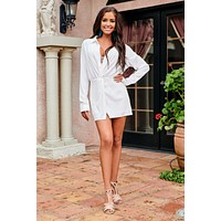 Stay Beautiful Long Sleeve Romper (Off White)