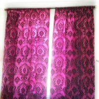 Pink Window curtains, Taffeta Curtain panels Girl Bedroom Curtains, New Apartment window curtains Damask Print Window Treatment