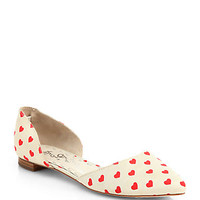 Alice + Olivia Hilary Heart-Print Canvas d'orsay Flats