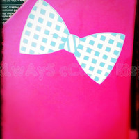 Custom Two Color Gingham style vinyl Bow Decal