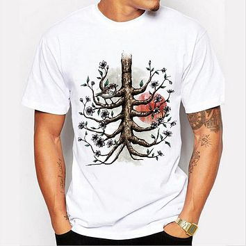 Arrivals Men Top t-shirt Casual Tree root printed male tops hipster basic tee shirts