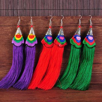 Chinese style Embroidery Long Tassel Drop Earrings Vintage Ethic Dangle Earrings Antique fashion Jewelry for women
