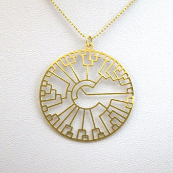 Evolution tree- Phylogenetic tree necklace- 24 Karat gold plated necklace