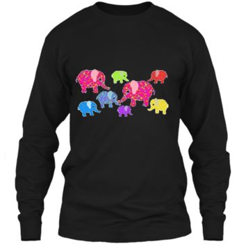Colorful Baby Elephants T-Shirt for boys and girls LS Ultra Cotton Tshirt