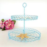Aqua Wire Two Tier Cupcake dessert stand shabby distressed, seashell tray, tiered tea party cake stand, vintage style shabby decor, serving