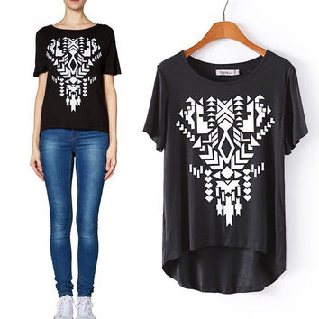 Summer Stylish Strong Character Slim Geometric Print Short Sleeve T-shirts [6047589121]