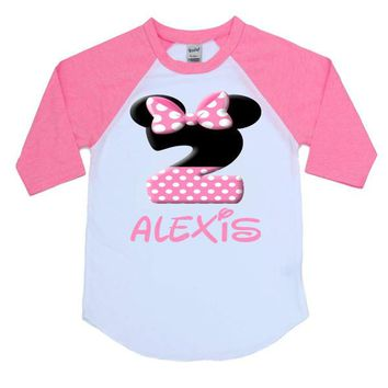 Custom Name and Age Girl Mouse Kids Raglan Shirt