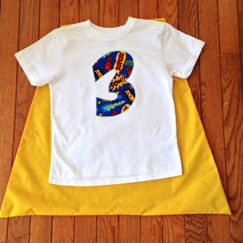 Superhero Cape Shirt or body suit, superhero birthday, comic birthday, cape