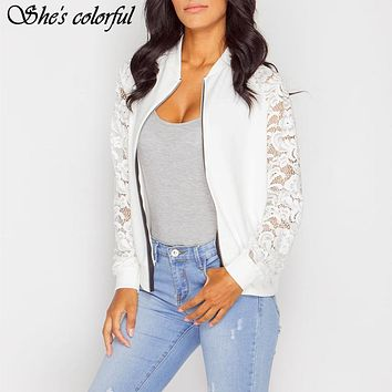 Women Jackets 2017 Autumn Winter New Fashion Ladies Sexy Hollow Out Lace Patchwork Zipper Casual Jackets Outwear JK001