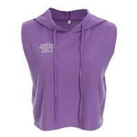 Support Girls Sleeveless Cropped Hoodie