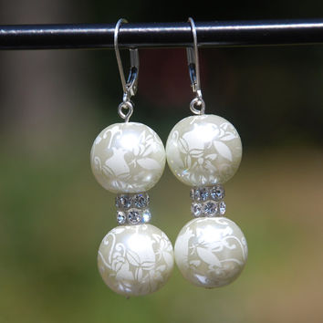White glass etched floral earrings, swarovski earrings, sterling earrings, lever back glass earrings, wedding earring, bridal earrings, xmas