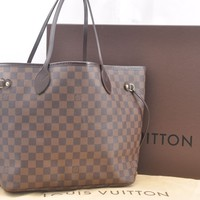 Authentic Louis Vuitton Damier Neverfull MM Tote Bag N51105 LV 46601