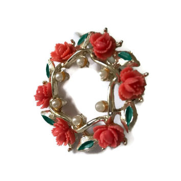 Vintage Circle Pin Gold Tone with Coral Color Roses with Little White Pearls and Green Enamel Leaves